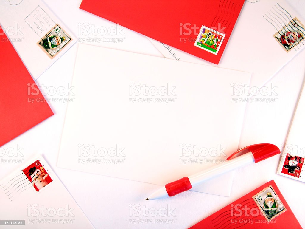 Red and White Christmas-Mail Border Around Blank Envelope and Pen royalty-free stock photo