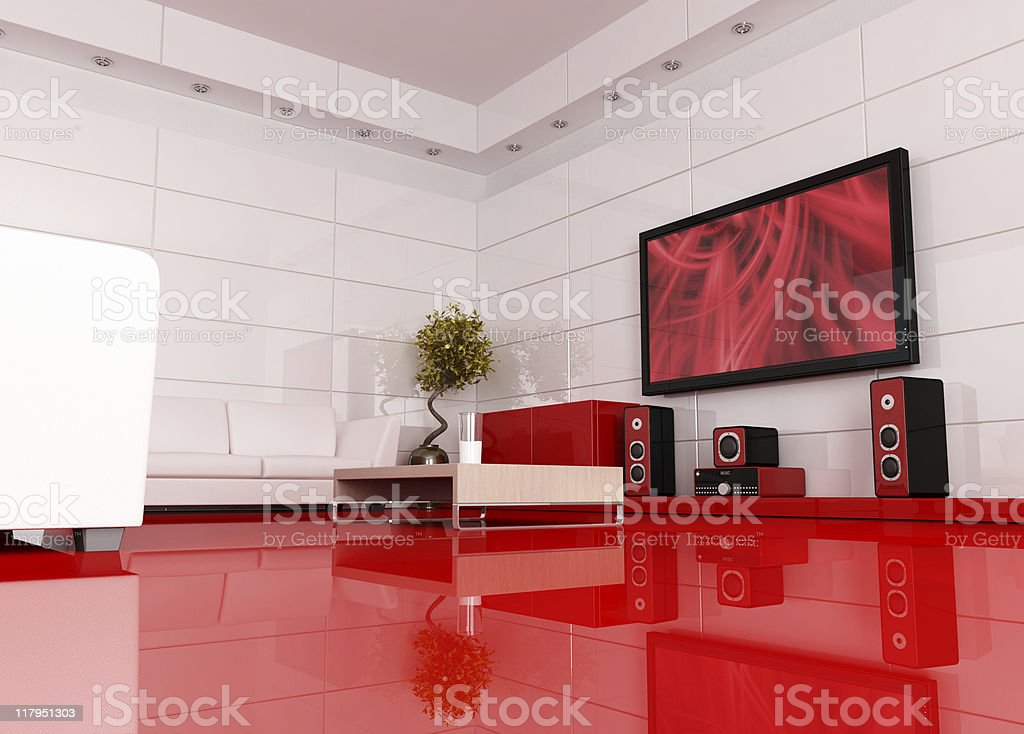 Red and white cinema room stock photo