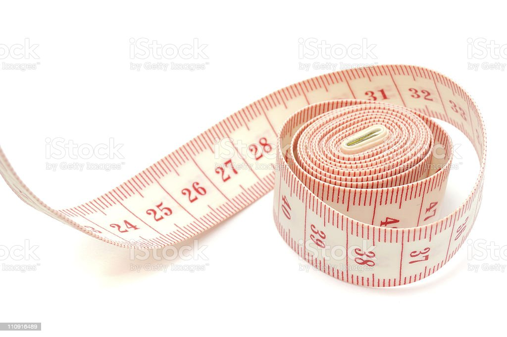 Red and white cloth measuring tape stock photo