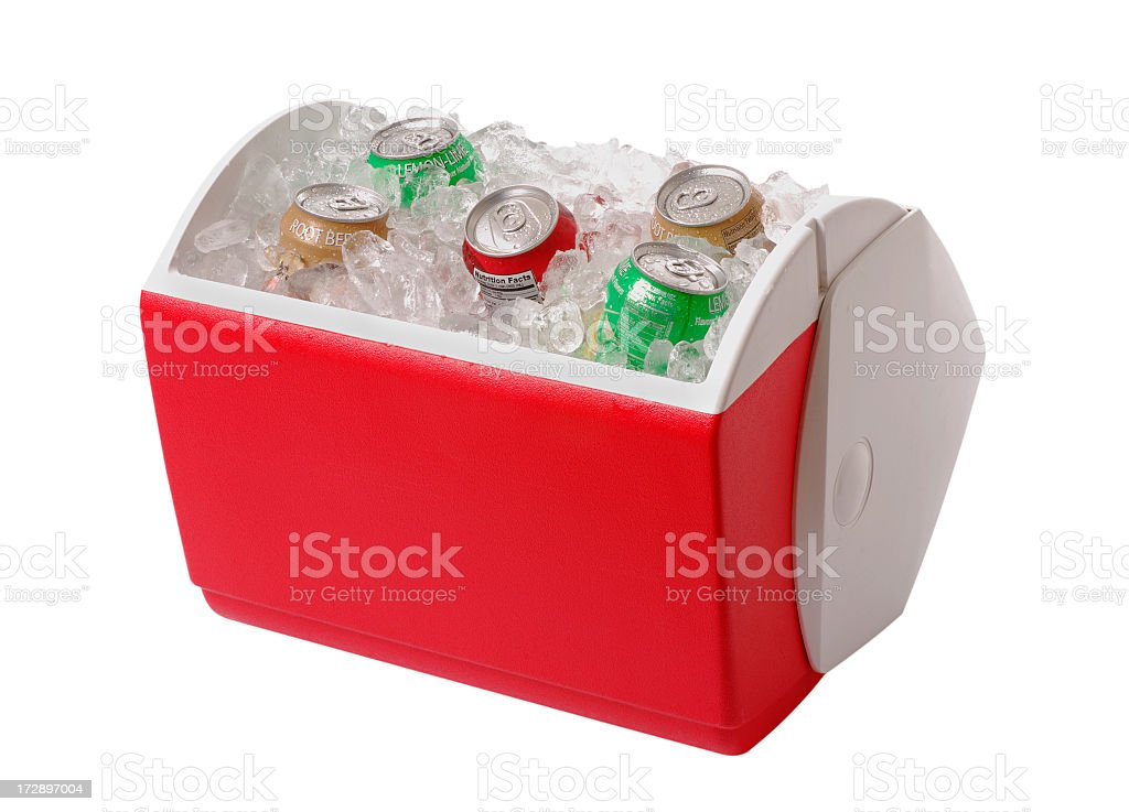 Red and white cooler containing ice and five cans of soda stock photo