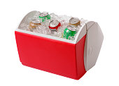 Red and white cooler containing ice and five cans of soda