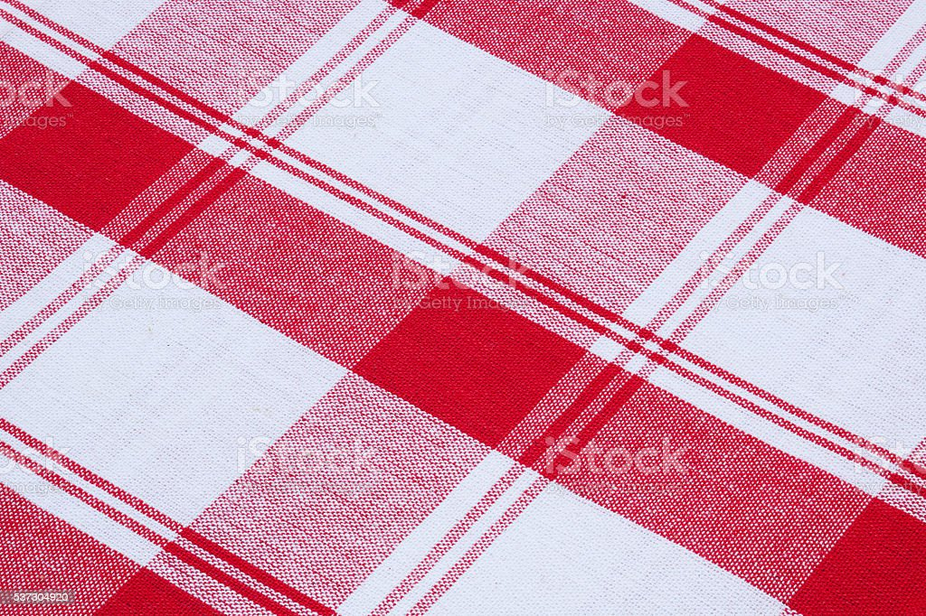 Red And White Cotton Gingham Tablecloth Pattern Royalty Free Stock Photo