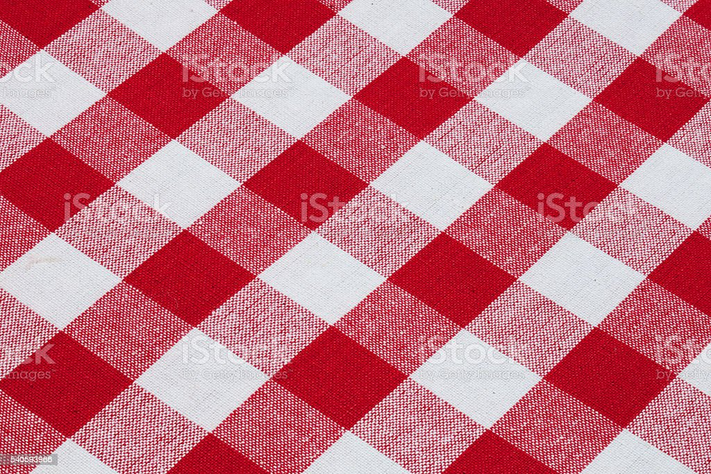 Red and white cotton gingham tablecloth pattern stock photo