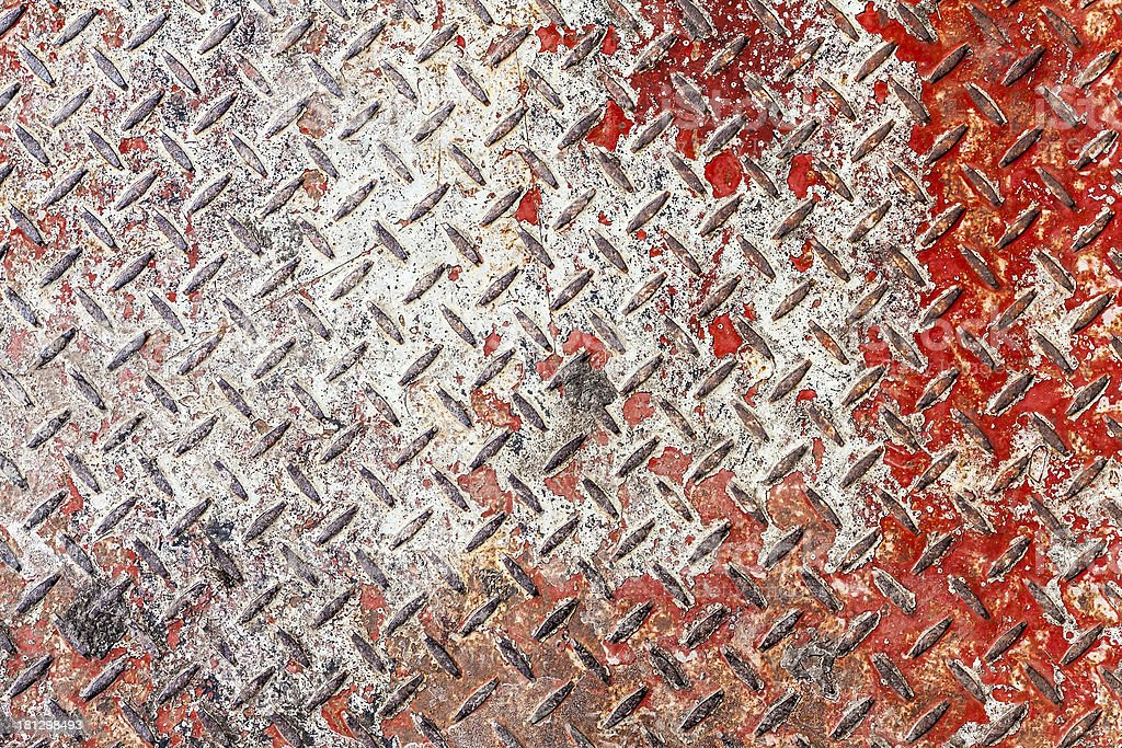 Red and white diamond pattern metal sheet royalty-free stock photo