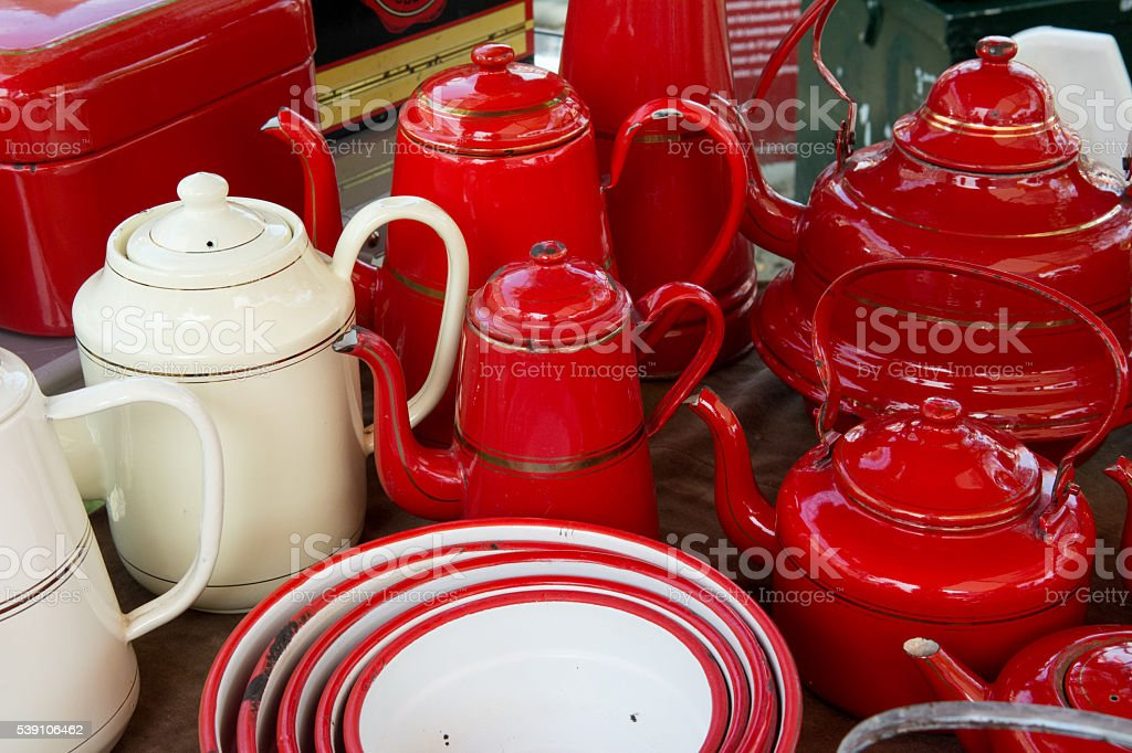 Red and white Enamel Coffee kettles stock photo