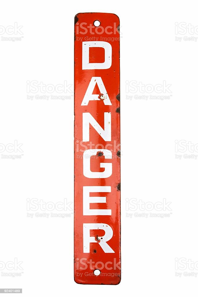 Red And White Enamelled Vintage Danger Sign royalty-free stock photo