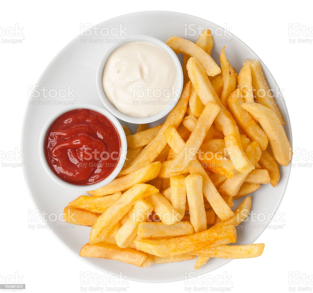Red and white french fries chips royalty-free stock photo