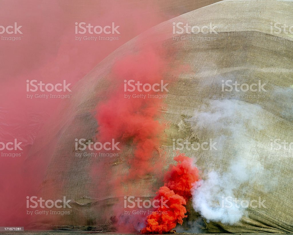 Red and white fume royalty-free stock photo