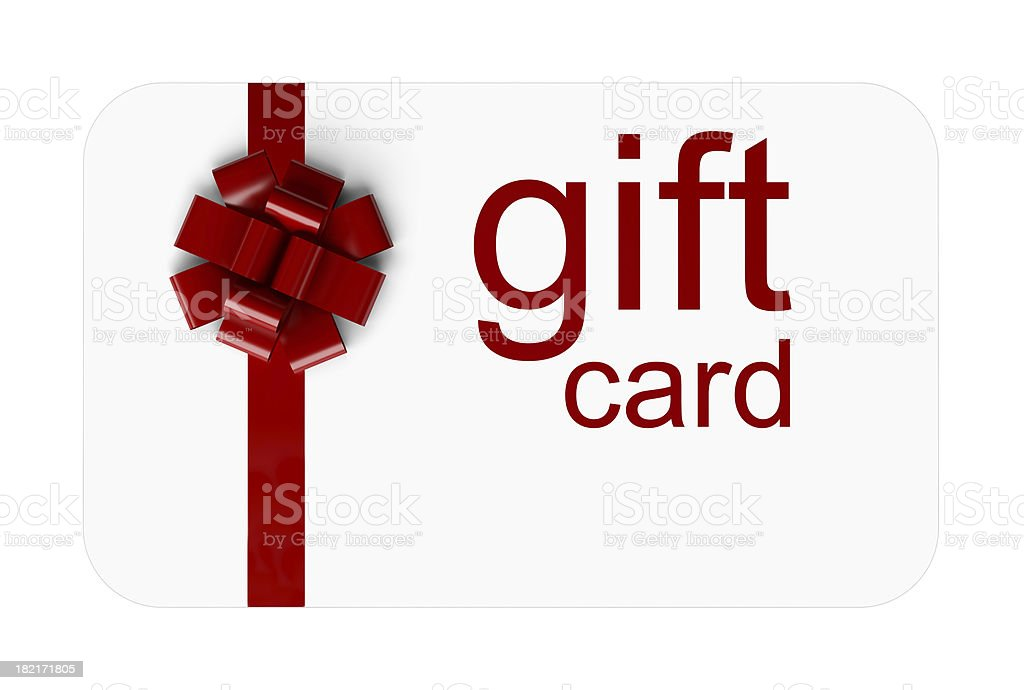 A red and white gift card with a bow on it stock photo