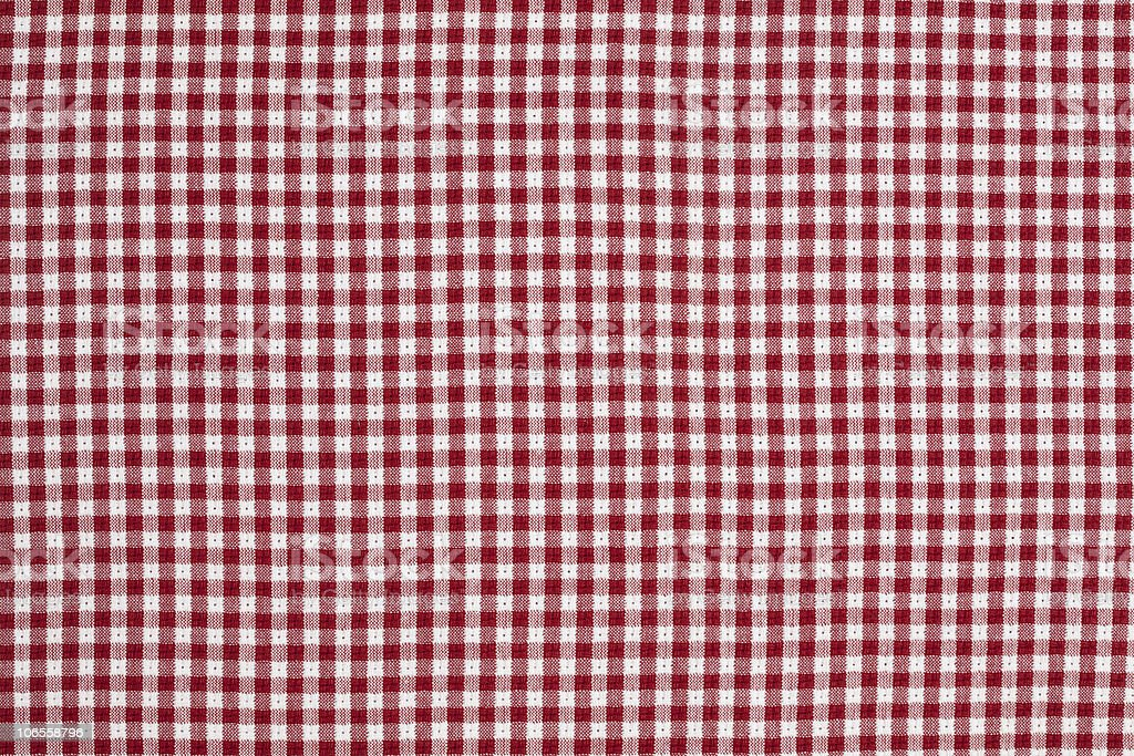 Red and White Gingham Checkered Tablecloth Background stock photo