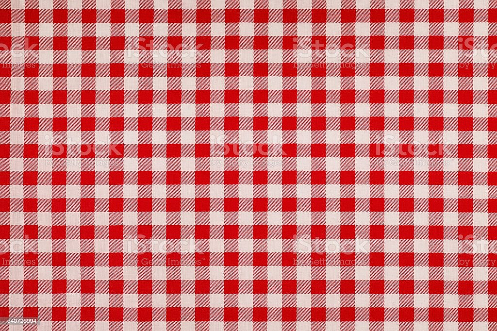 Red and white Gingham style cotton background. stock photo