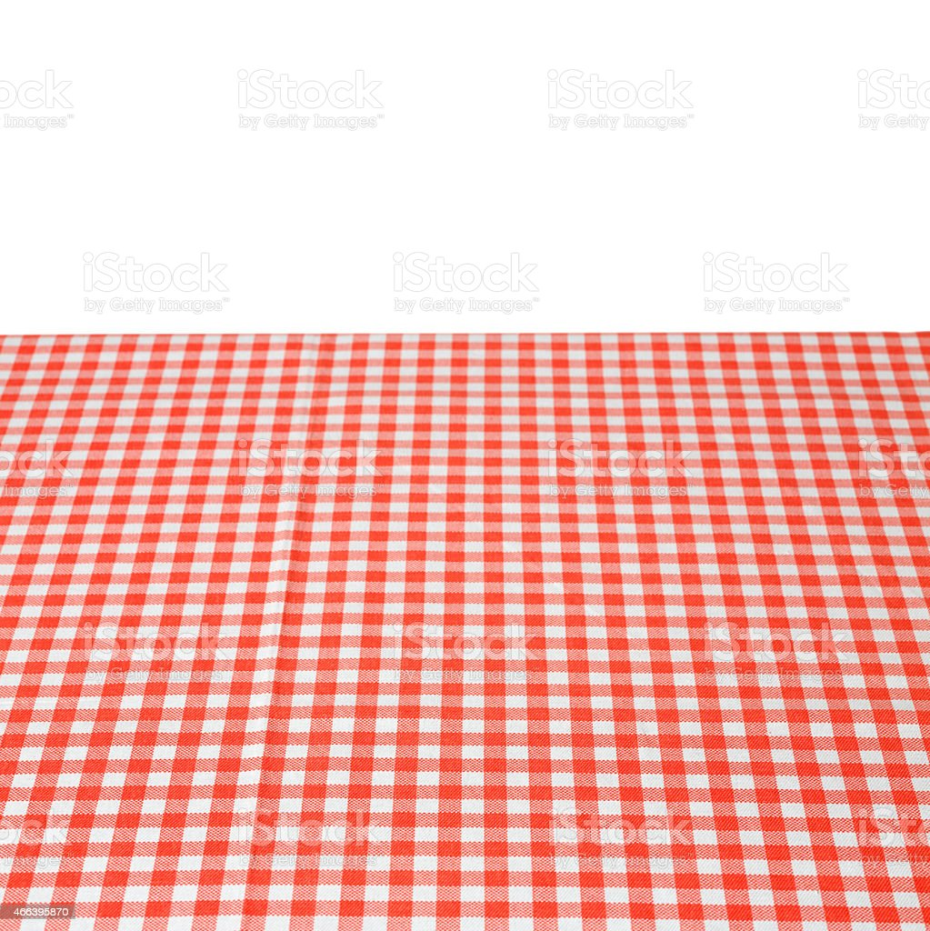 Red and white gingham tablecloth background stock photo