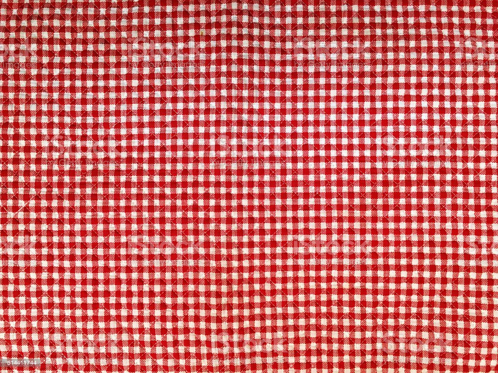 Red and White Gingham Tablecloth Swatch stock photo