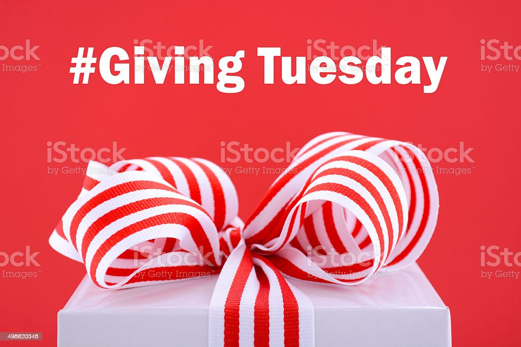 Red and white Giving Tuesday gift. stock photo