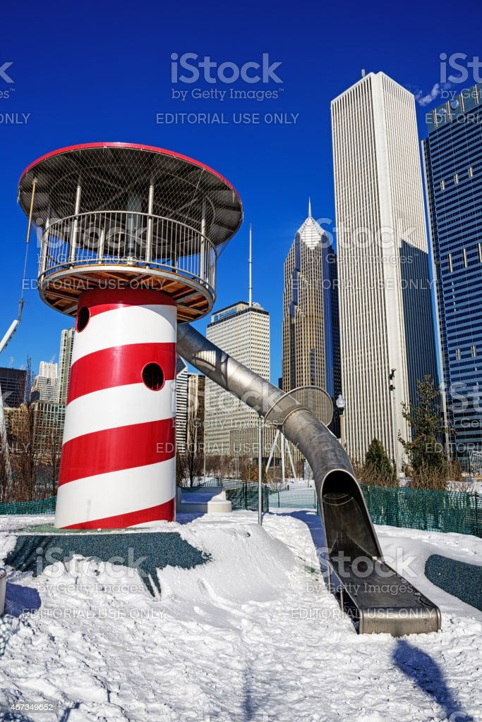 Red and White Helter Skelter in Maggie Daley Park, Chicago stock photo