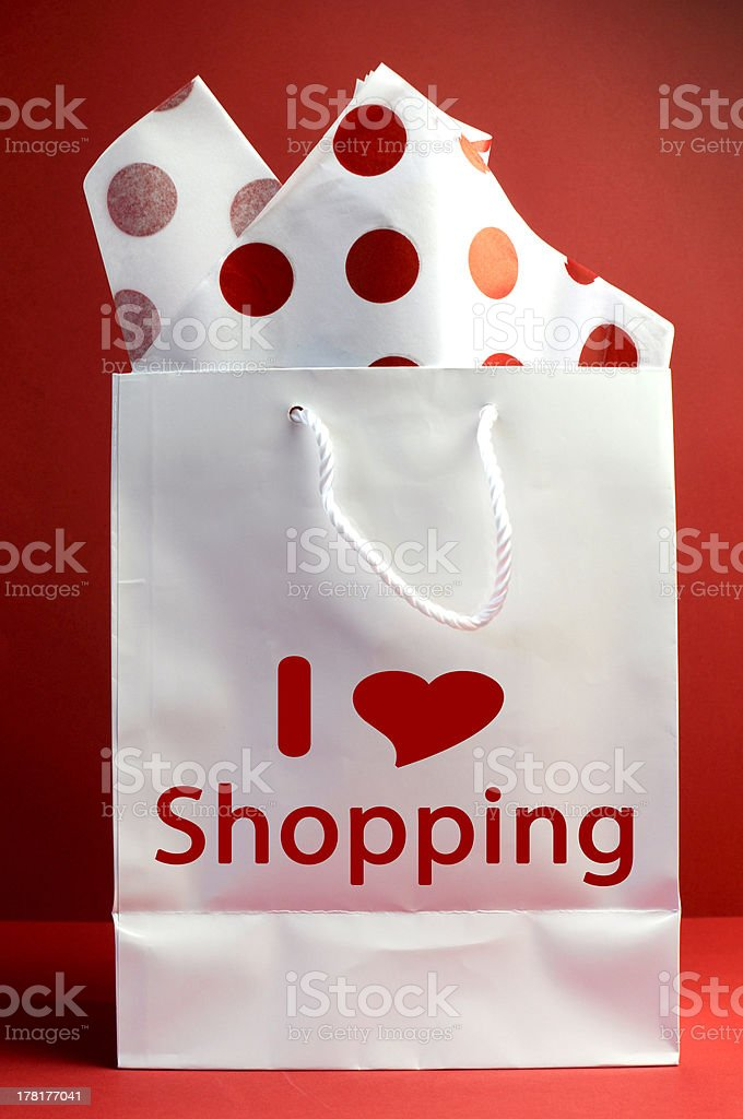 Red and White I Love Shopping royalty-free stock photo