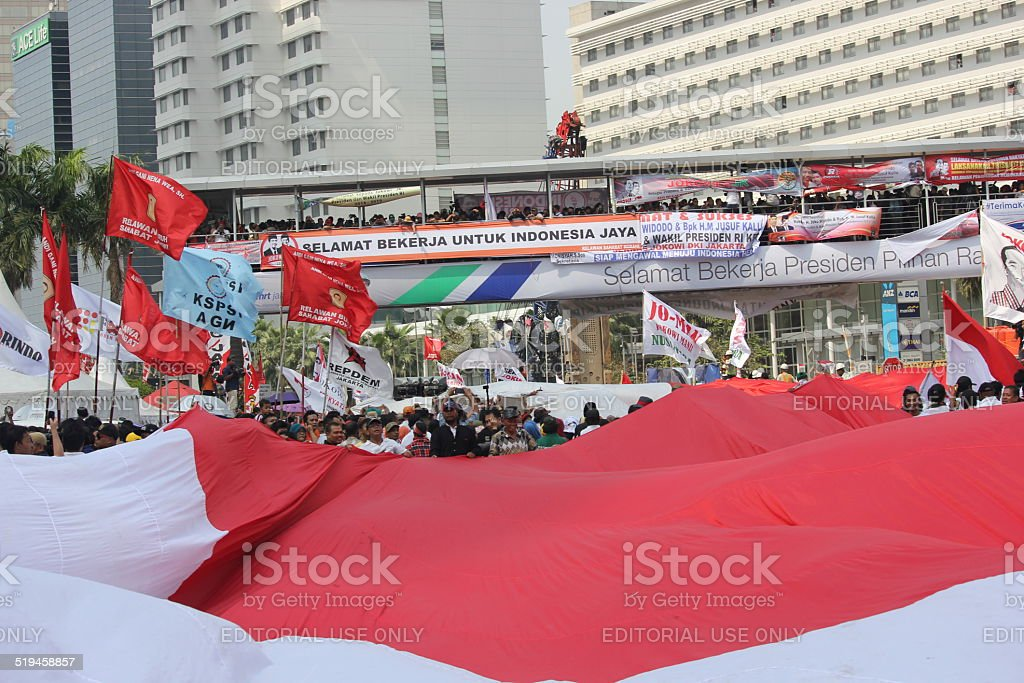 Red and white Indonesian flag spread stock photo