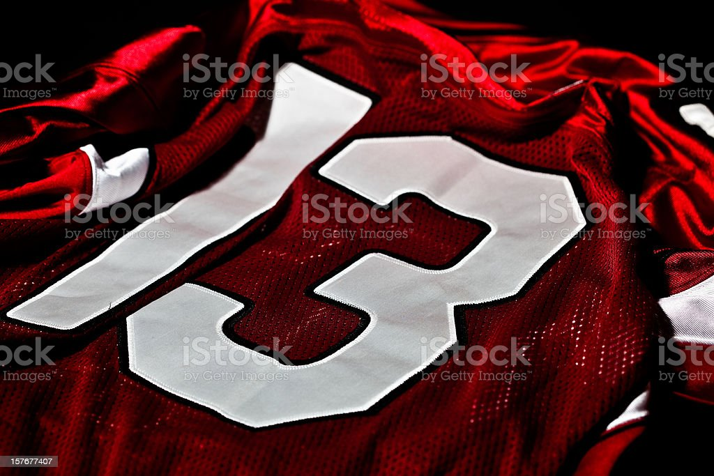 Red and white jersey stock photo
