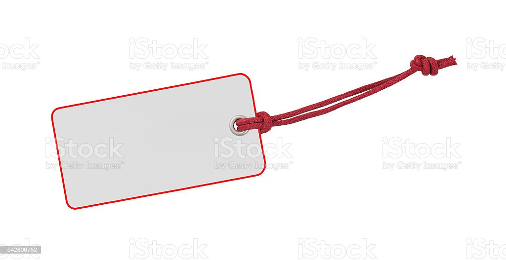 Red and white Label stock photo
