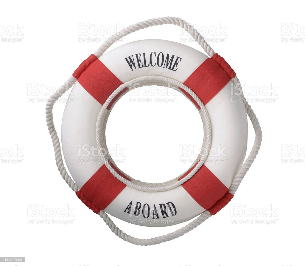A red and white life buoy with welcome aboard on it stock photo