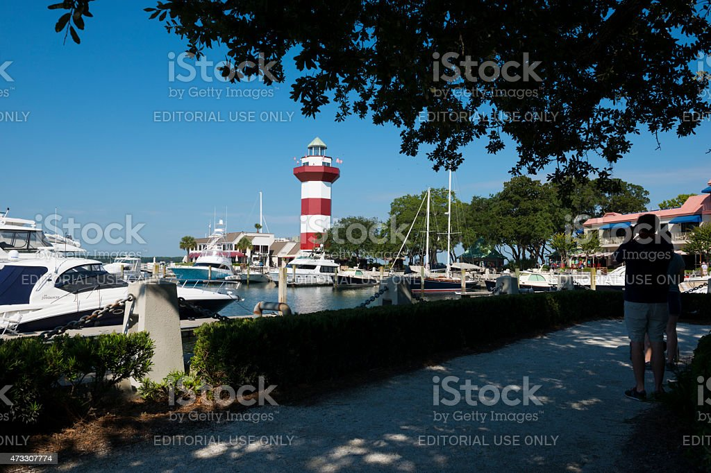 Red and white lighthouse on Hilton Head Island stock photo