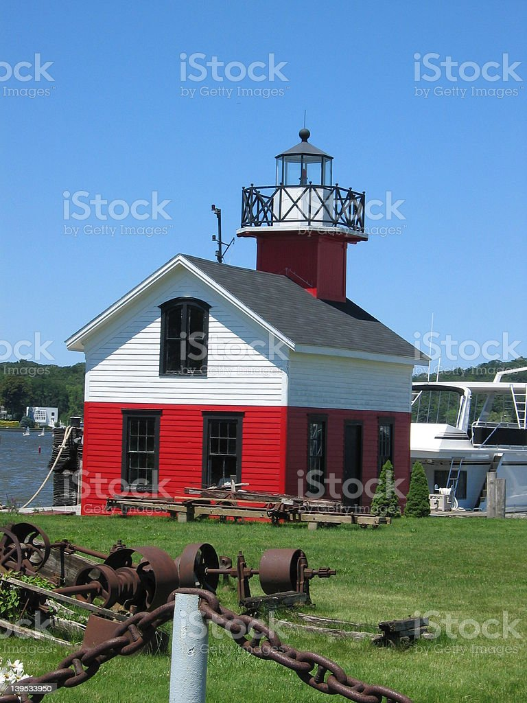 Red and White Lighthouse stock photo