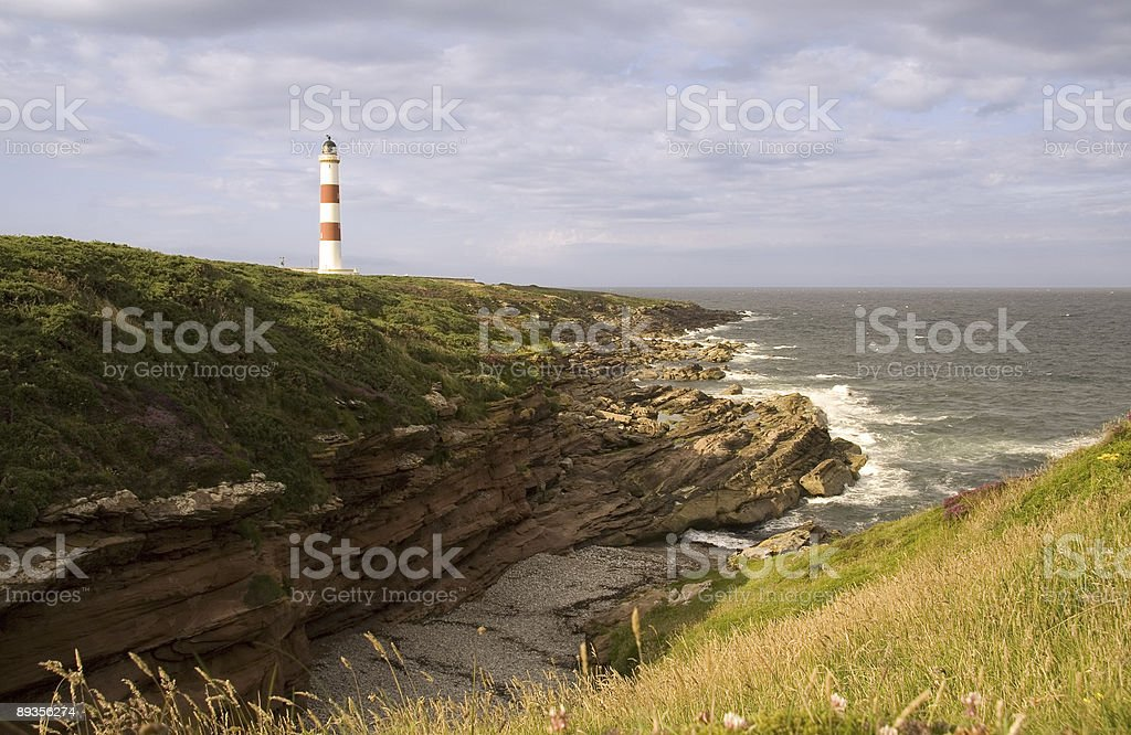 Red and white lighthouse royalty-free stock photo