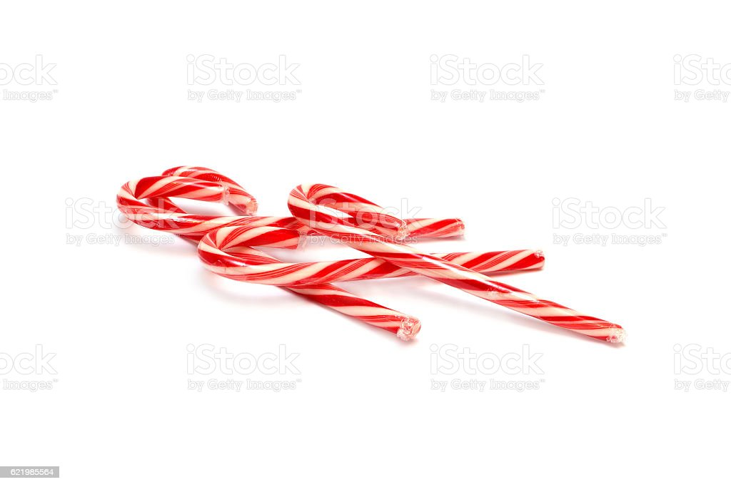 Red and white lollipops sticks isolated stock photo