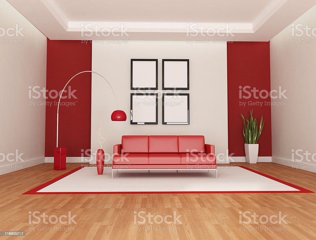 Red And White Lounge royalty-free stock photo