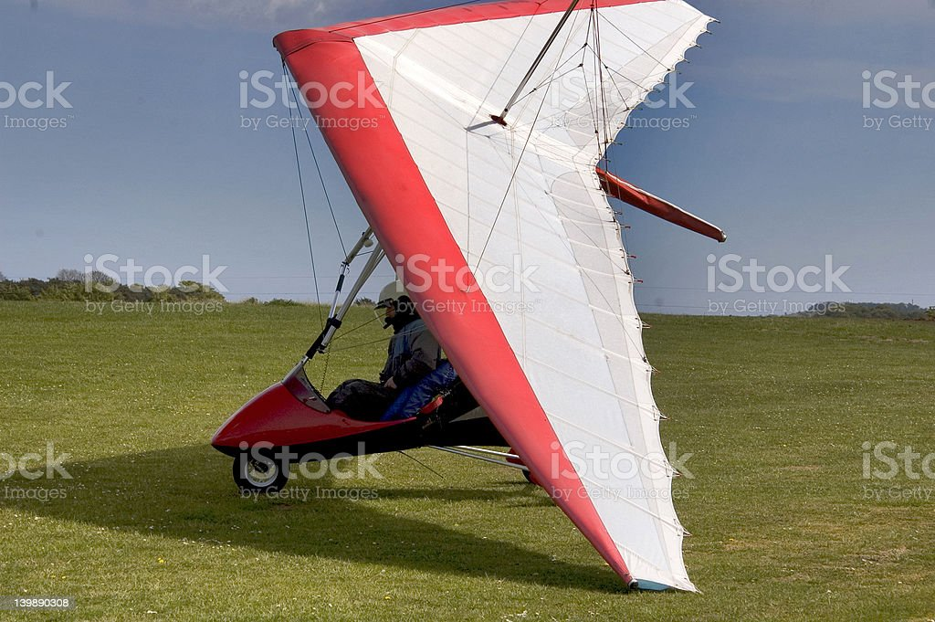 Red and White  Microlight aircraft stock photo