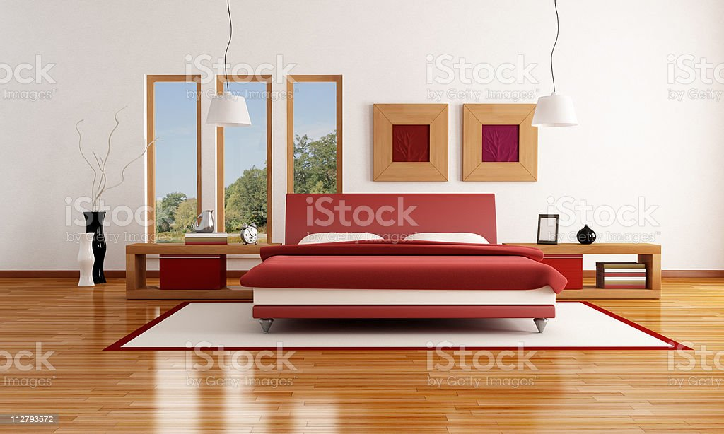 red and white  modern bedroom stock photo