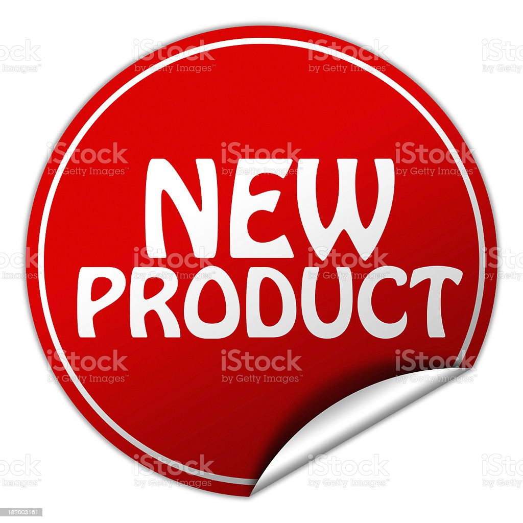 Red and white new product sticker stock photo