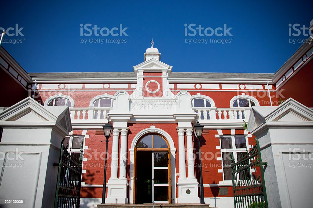 Red and White old building Stellenbosch stock photo