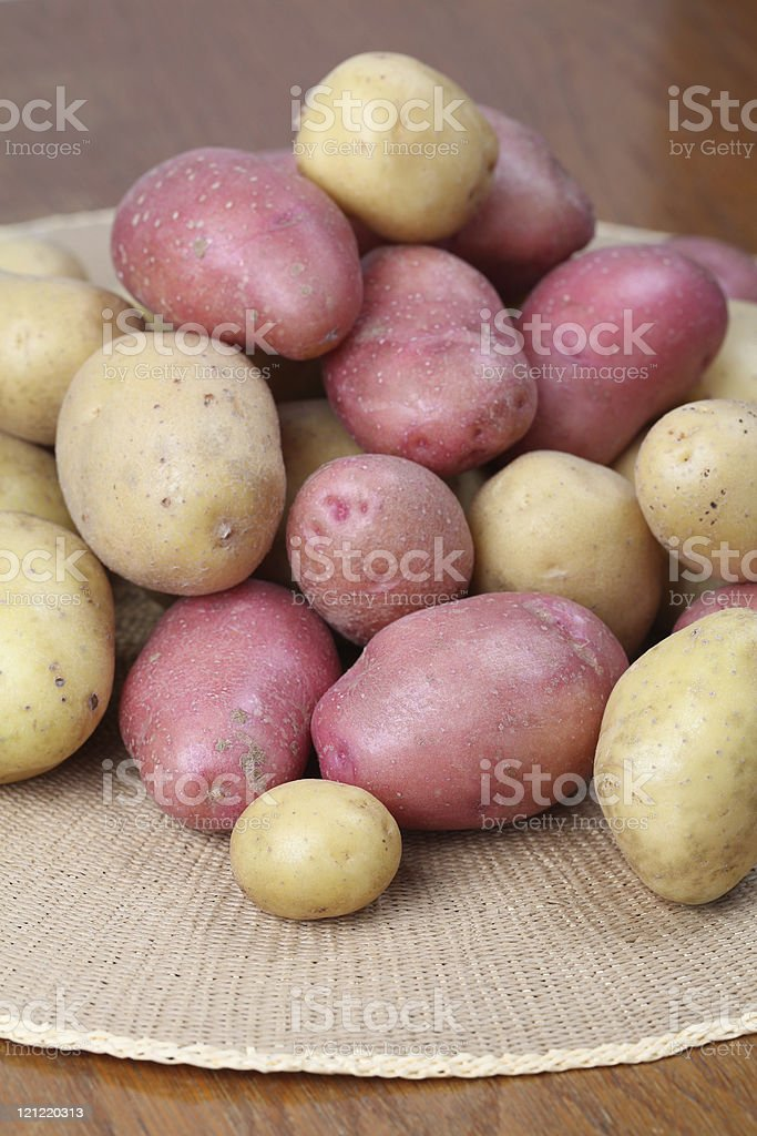 Red and white organic potatoes royalty-free stock photo
