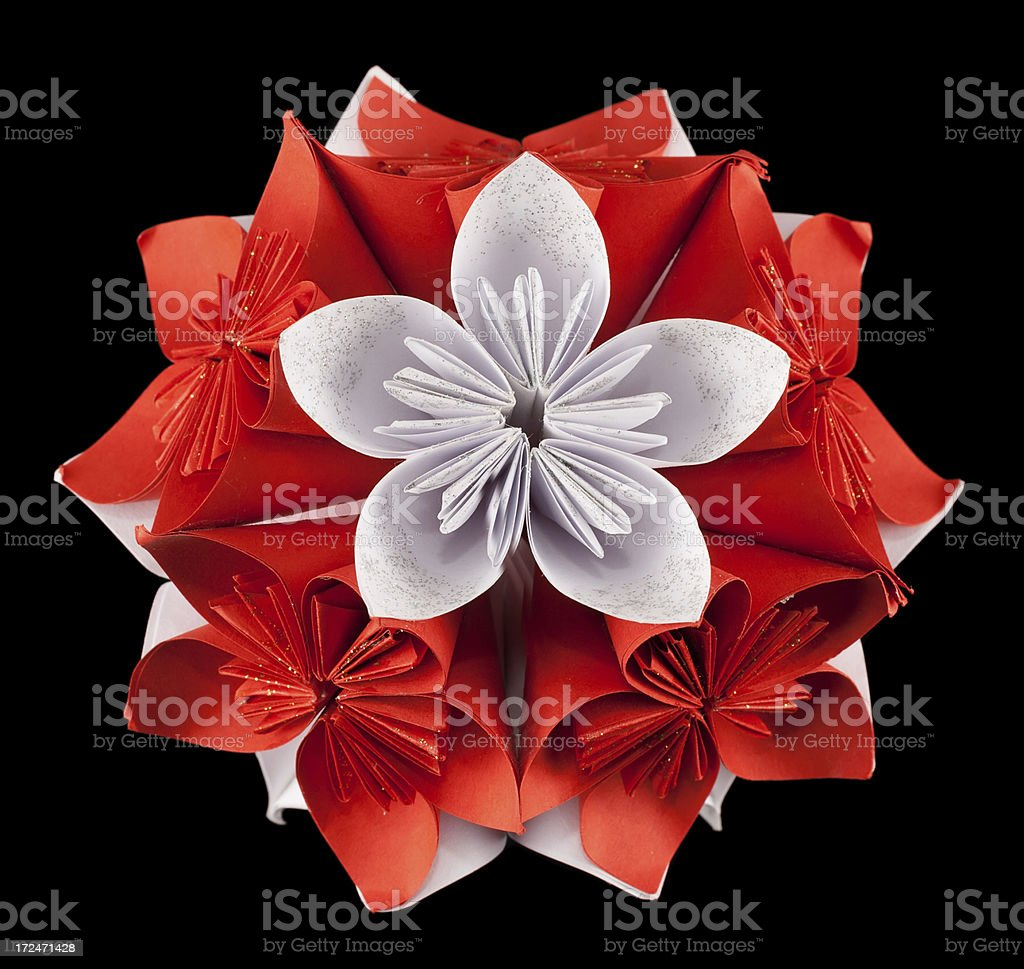 Red and white origami kusudama royalty-free stock photo