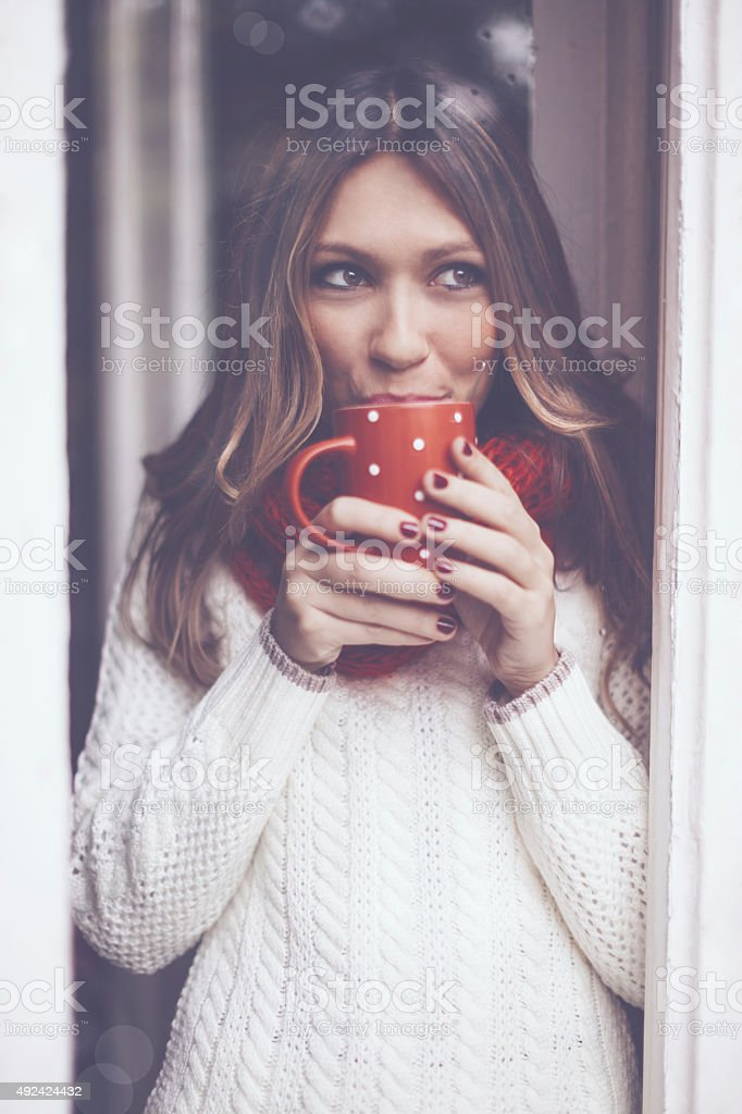 Red and white stock photo
