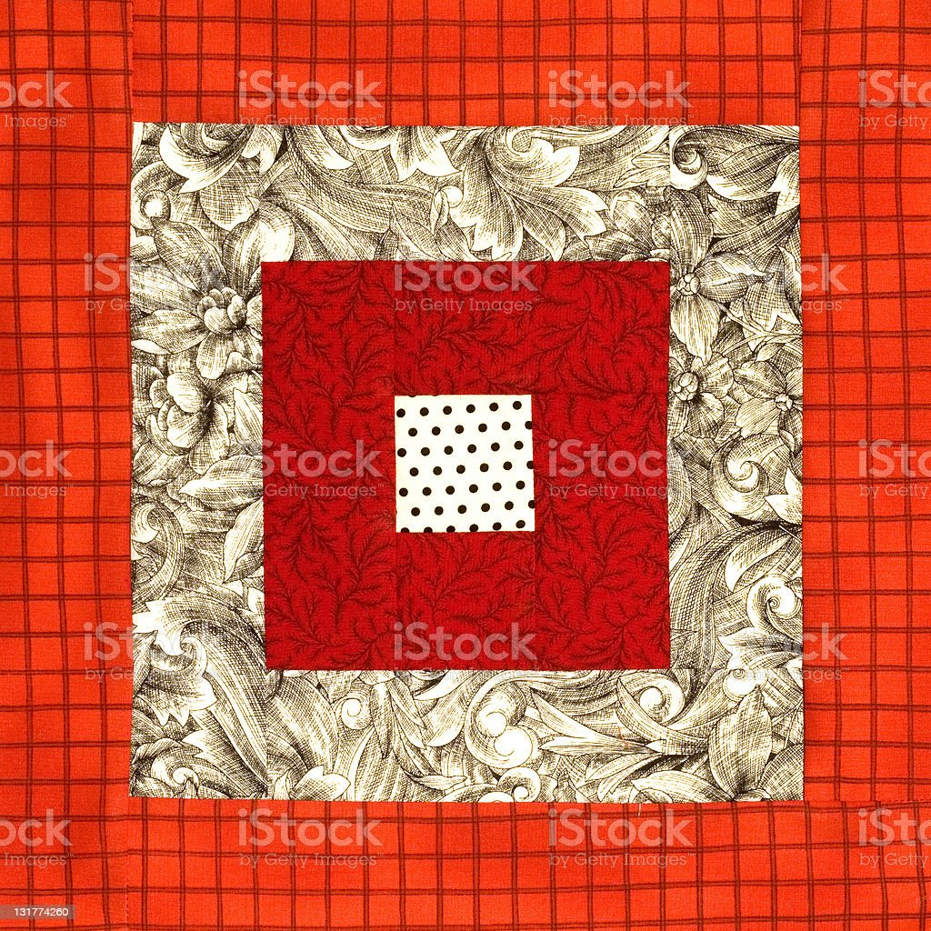 Red and White Quilt Block stock photo