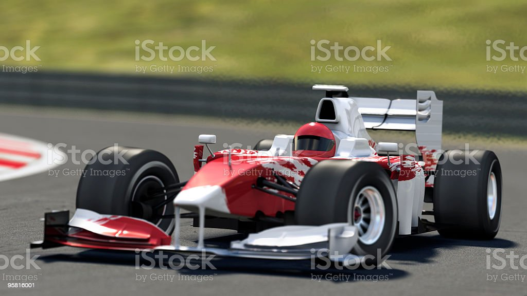 Red and white race car on the track stock photo