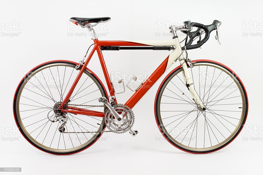 Red and white racing touring bike with white background stock photo