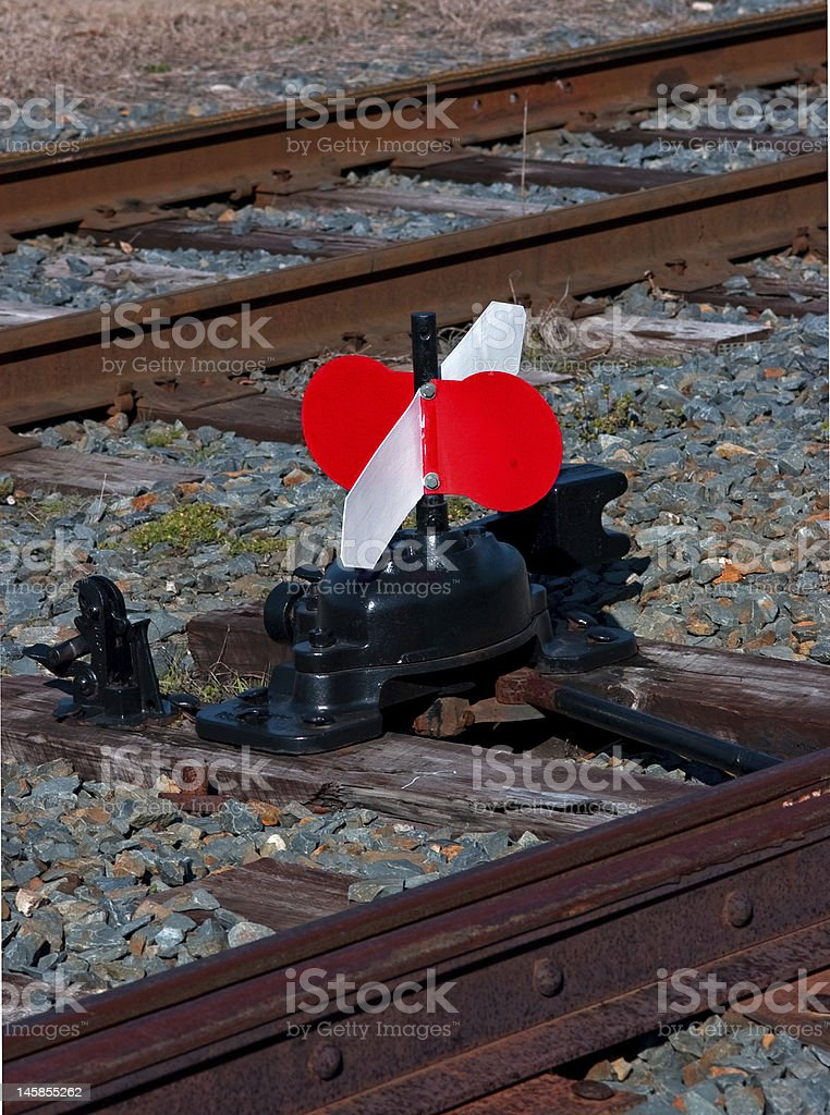 Red and White Railroad Switch royalty-free stock photo