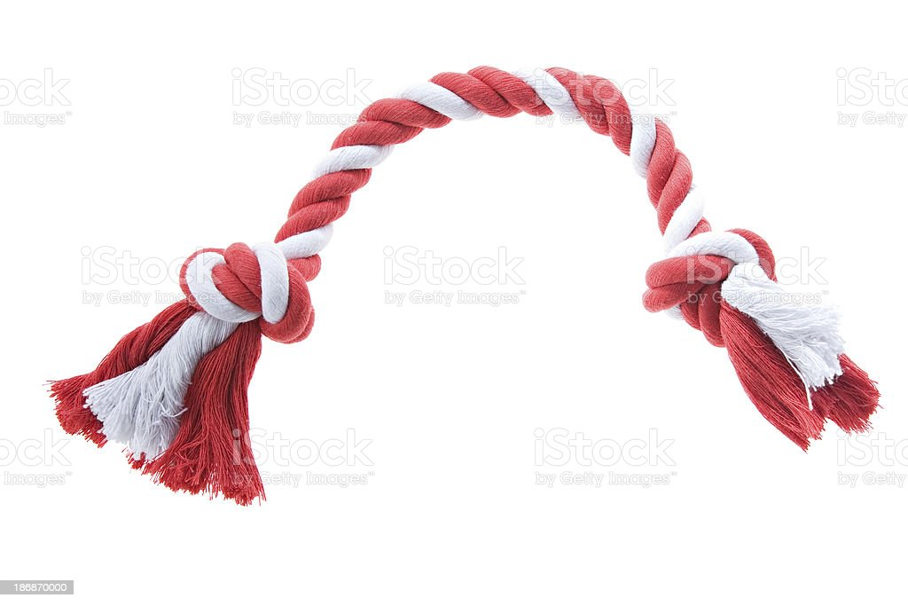 Red and white rope toy for dogs royalty-free stock photo