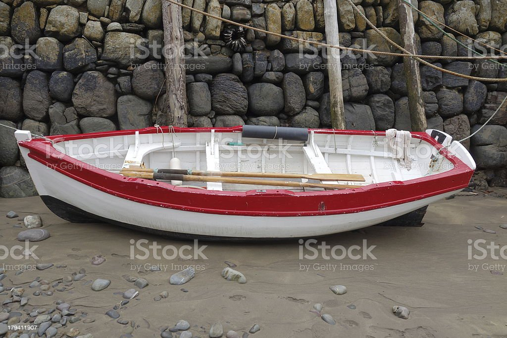 red and white rowing boat royalty-free stock photo