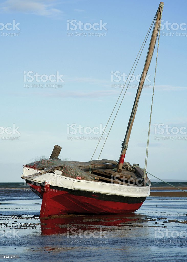 Red and White Sailing boat royalty-free stock photo