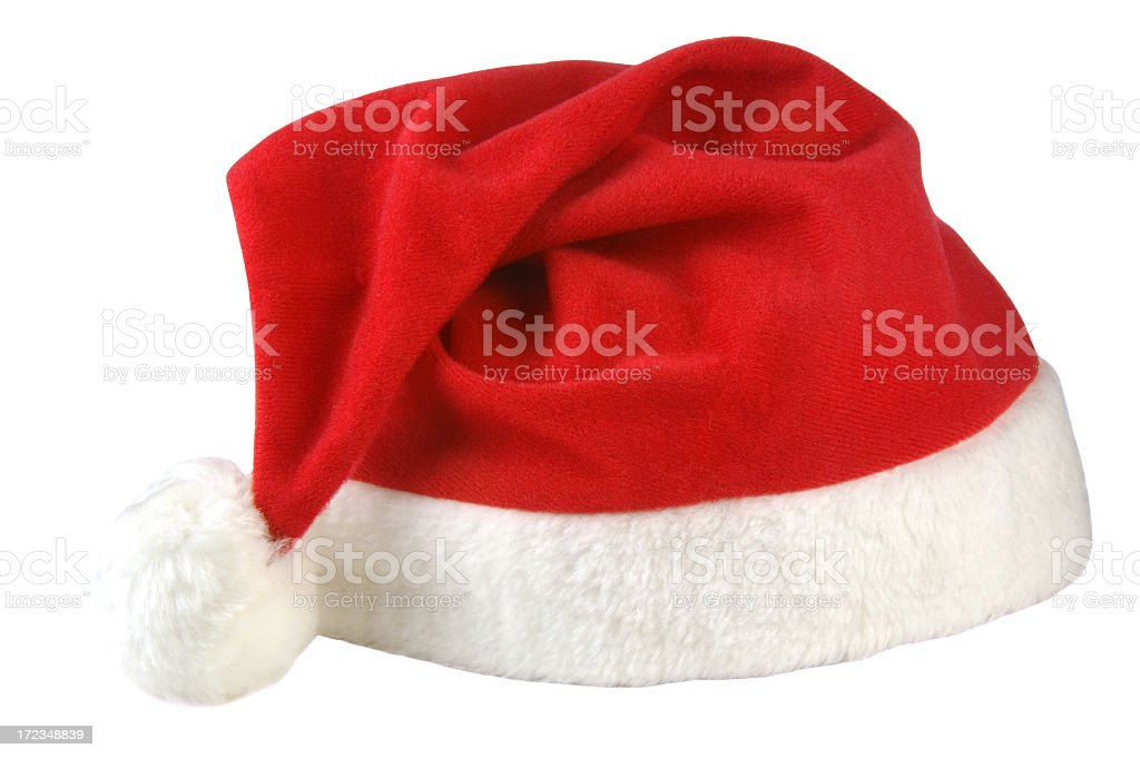 Red and white Santa hat isolated on white background royalty-free stock photo