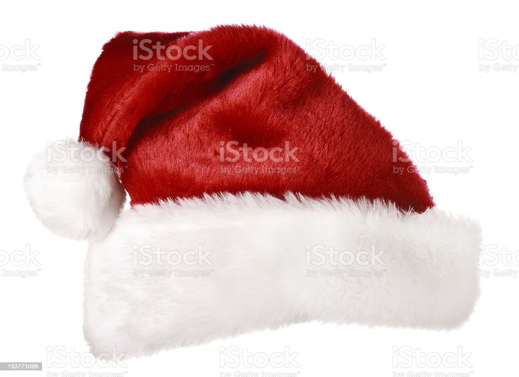 Red and white Santa hat isolated stock photo