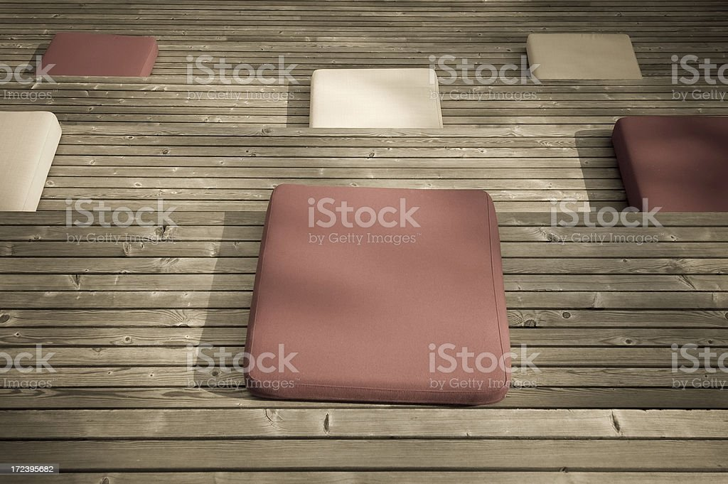 Red and white sitting pads stock photo