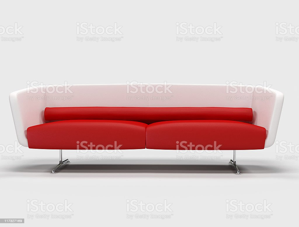 red and white sofa royalty-free stock photo