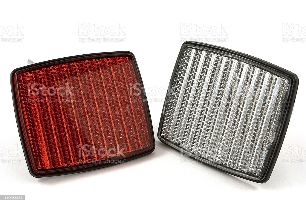 red and white square bicycle reflector stock photo