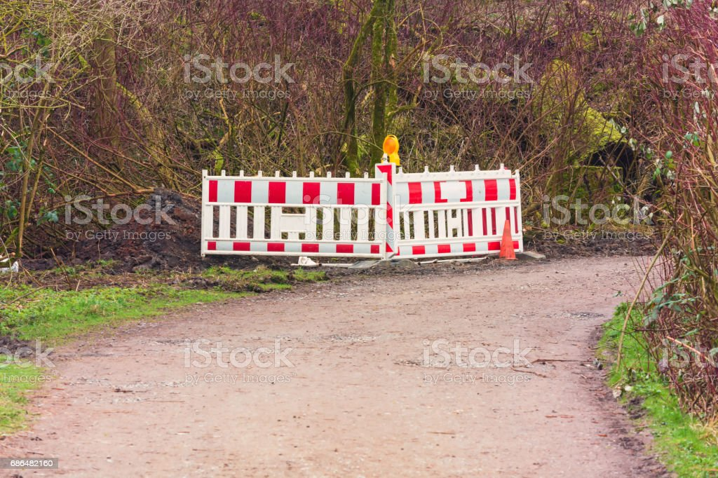 Red and White Street Barricade. stock photo