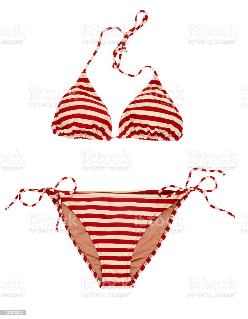 Red and white striped bikini on white stock photo